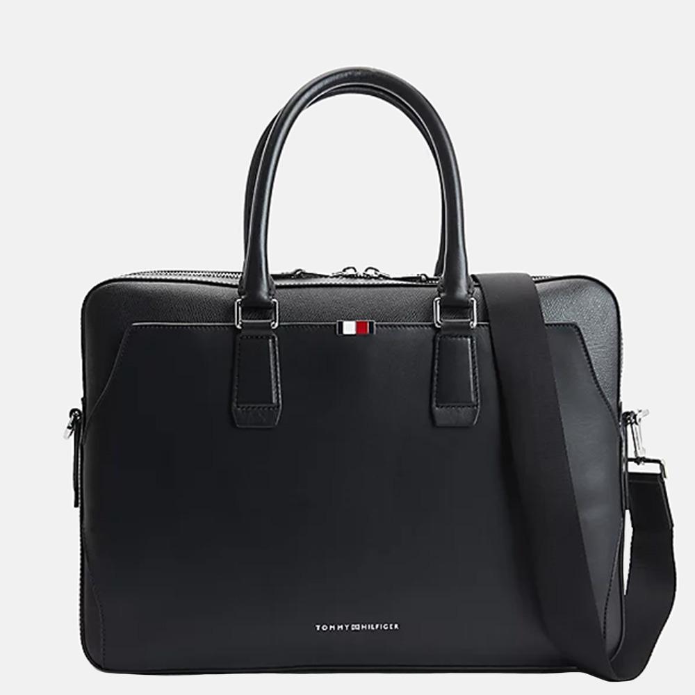 Tommy Hilfiger Leather Slim laptoptas 15 inch black