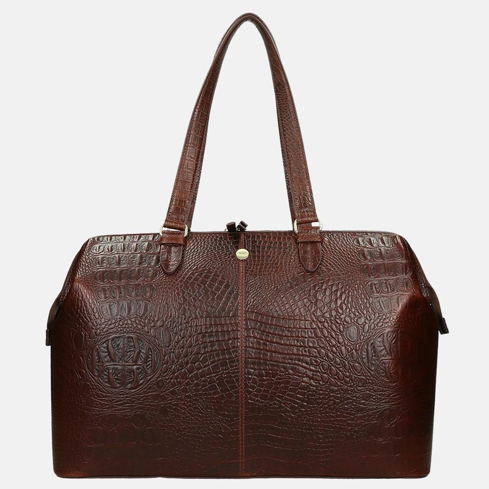 FMME Christy shopper/laptoptas 15.6 inch brown croco