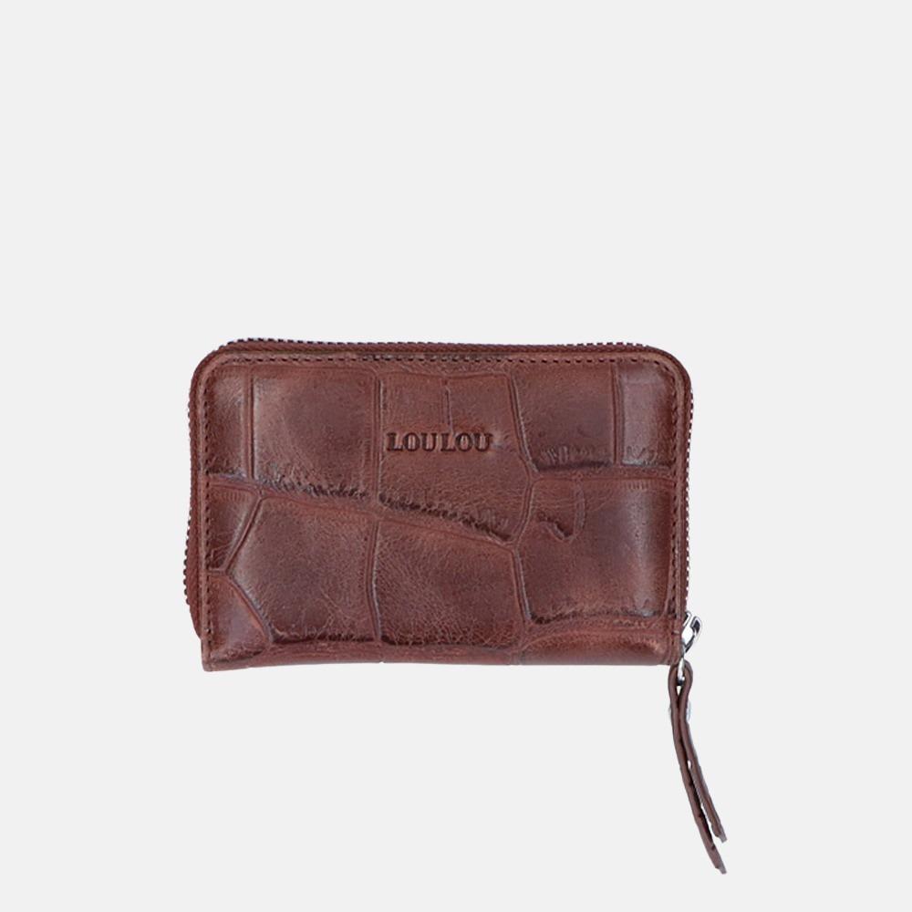 LouLou Essentiels Vintage Croco SLB XS portemonnee dark brown