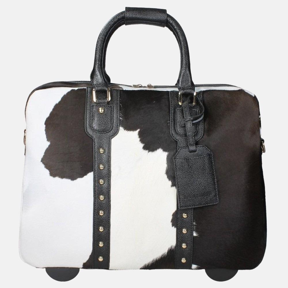 Olivia Lauren Cowhide laptoptrolley 14 inch zwart/wit