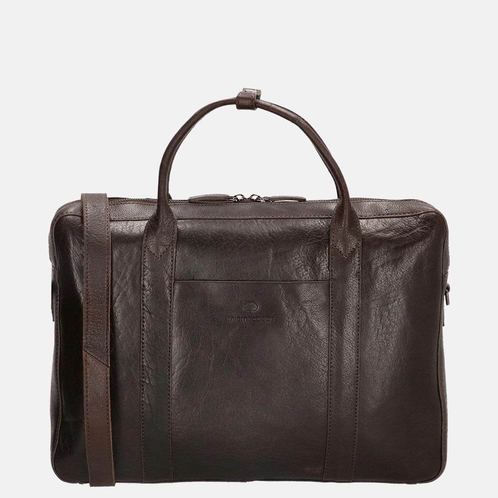 Micmacbags Legacy laptoptas/rugzak 15 inch dark brown